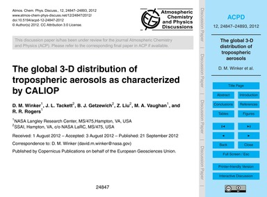 The Global 3-d Distribution of Troposphe... by Winker, D. M.