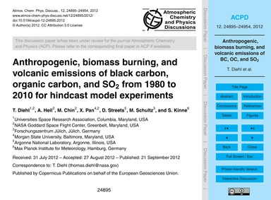 Anthropogenic, Biomass Burning, and Volc... by Diehl, T.