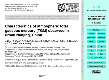 Characteristics of Atmospheric Total Gas... by Zhu, J.