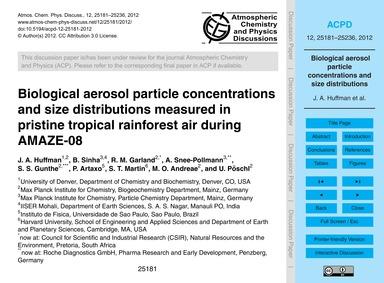Biological Aerosol Particle Concentratio... by Huffman, J. A.
