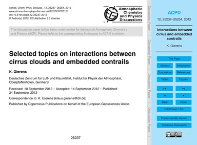 Selected Topics on Interactions Between ... by Gierens, K.