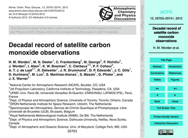 Decadal Record of Satellite Carbon Monox... by Worden, H. M.