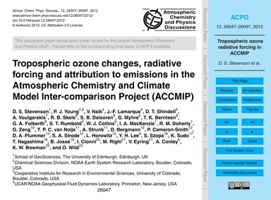 Tropospheric Ozone Changes, Radiative Fo... by Stevenson, D. S.