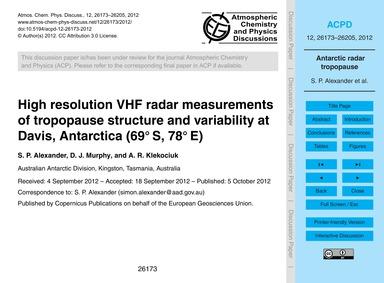 High Resolution Vhf Radar Measurements o... by Alexander, S. P.