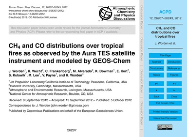 Ch4 and Co Distributions Over Tropical F... by Worden, J.