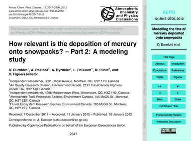 How Relevant is the Deposition of Mercur... by Durnford, D.