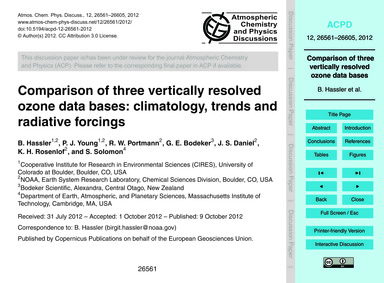 Comparison of Three Vertically Resolved ... by Hassler, B.