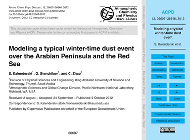 Modeling a Typical Winter-time Dust Even... by Kalenderski, S.