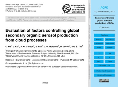 Evaluation of Factors Controlling Global... by He, C.