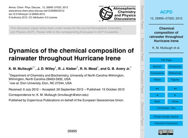 Dynamics of the Chemical Composition of ... by Mullaugh, K. M.