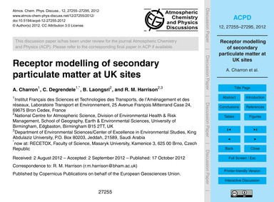 Receptor Modelling of Secondary Particul... by Charron, A.