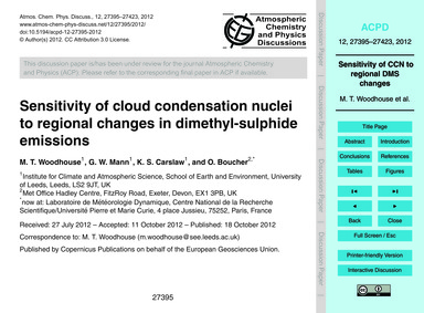 Sensitivity of Cloud Condensation Nuclei... by Woodhouse, M. T.