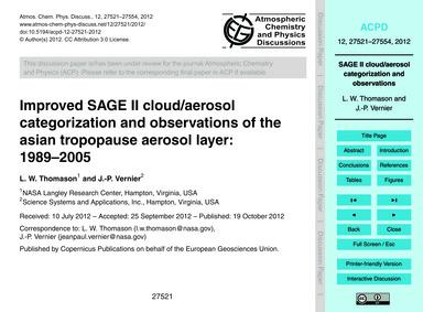 Improved Sage II Cloud/Aerosol Categoriz... by Thomason, L. W.