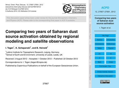 Comparing Two Years of Saharan Dust Sour... by Tegen, I.