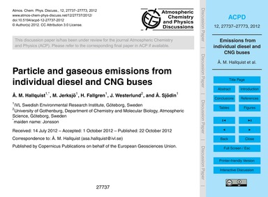 Particle and Gaseous Emissions from Indi... by Hallquist, Å. M.