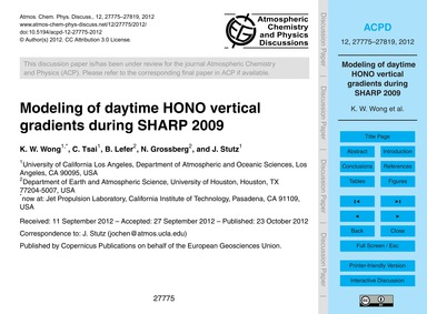 Modeling of Daytime Hono Vertical Gradie... by Wong, K. W.