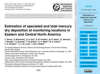 Estimation of Speciated and Total Mercur... by Zhang, L.