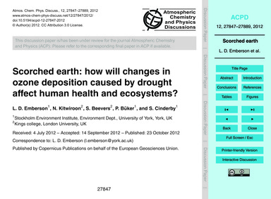 Scorched Earth: How will Changes in Ozon... by Emberson, L. D.