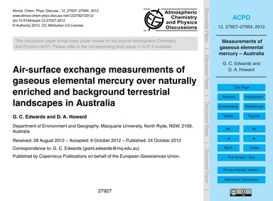 Air-surface Exchange Measurements of Gas... by Edwards, G. C.