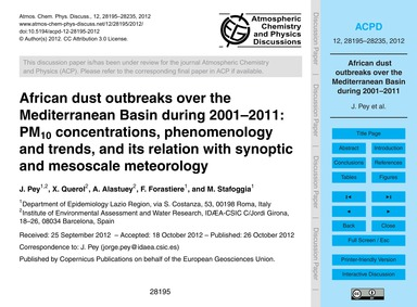 African Dust Outbreaks Over the Mediterr... by Pey, J.
