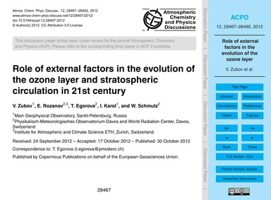 Role of External Factors in the Evolutio... by Zubov, V.