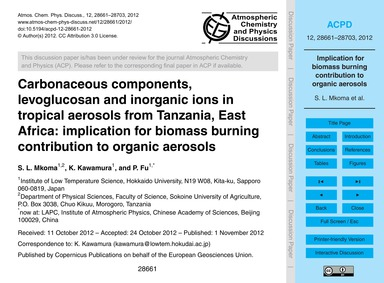 Carbonaceous Components, Levoglucosan an... by Mkoma, S. L.