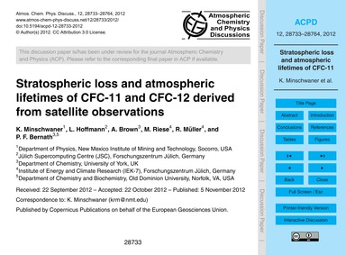 Stratospheric Loss and Atmospheric Lifet... by Minschwaner, K.
