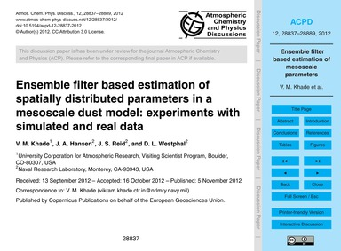 Ensemble Filter Based Estimation of Spat... by Khade, V. M.