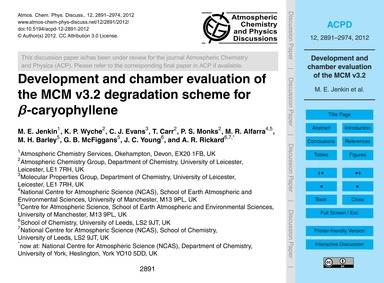 Development and Chamber Evaluation of th... by Jenkin, M. E.