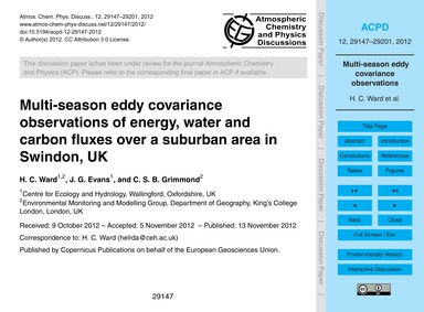Multi-season Eddy Covariance Observation... by Ward, H. C.