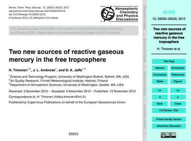 Two New Sources of Reactive Gaseous Merc... by Timonen, H.