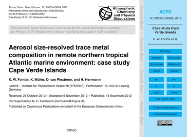 Aerosol Size-resolved Trace Metal Compos... by Fomba, K. W.