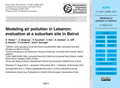 Modeling Air Pollution in Lebanon: Evalu... by Waked, A.