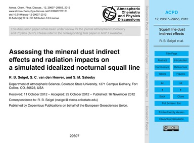 Assessing the Mineral Dust Indirect Effe... by Seigel, R. B.
