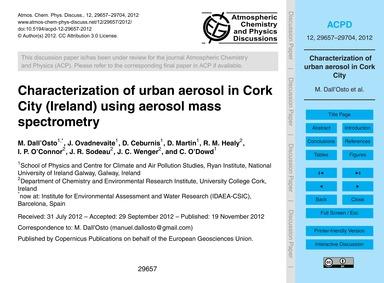 Characterization of Urban Aerosol in Cor... by Dall'Osto, M.