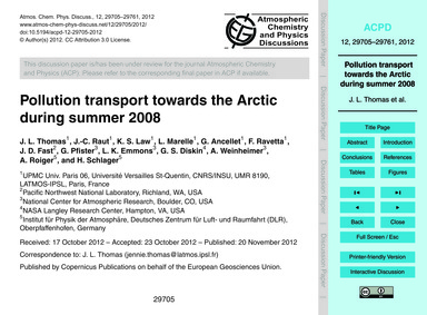 Pollution Transport Towards the Arctic D... by Thomas, J. L.