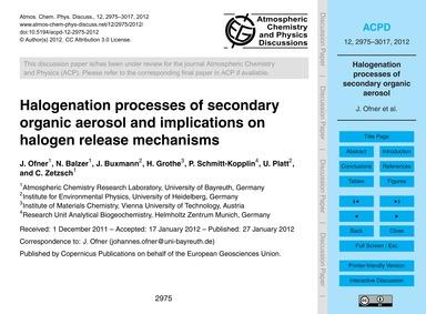 Halogenation Processes of Secondary Orga... by Ofner, J.