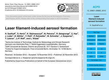 Laser Filament-induced Aerosol Formation... by Saathoff, H.