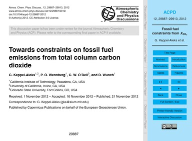 Towards Constraints on Fossil Fuel Emiss... by Keppel-aleks, G.