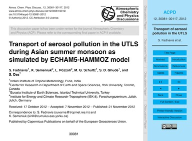 Transport of Aerosol Pollution in the Ut... by Fadnavis, S.