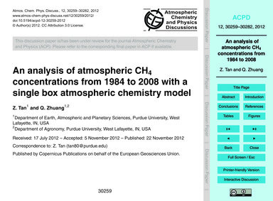 An Analysis of Atmospheric Ch4 Concentra... by Tan, Z.