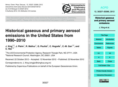 Historical Gaseous and Primary Aerosol E... by Xing, J.