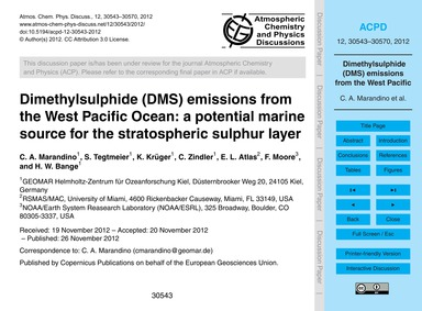 Dimethylsulphide (Dms) Emissions from th... by Marandino, C. A.