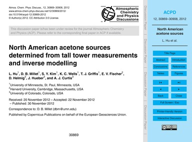North American Acetone Sources Determine... by Hu, L.