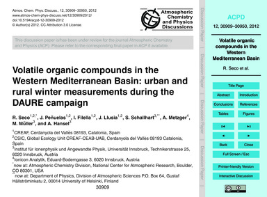 Volatile Organic Compounds in the Wester... by Seco, R.
