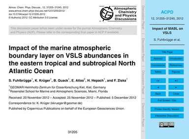 Impact of the Marine Atmospheric Boundar... by Fuhlbrügge, S.