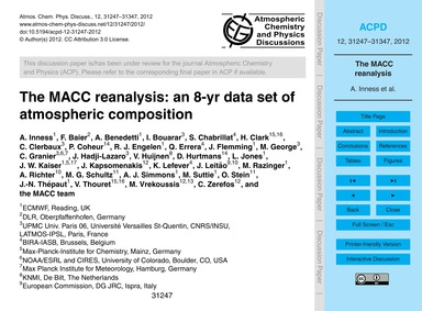 The MacC Reanalysis: an 8-yr Data Set of... by Inness, A.