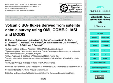 Volcanic So2 Fluxes Derived from Satelli... by Theys, N.