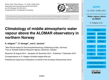 Climatology of Middle Atmospheric Water ... by Hallgren, K.