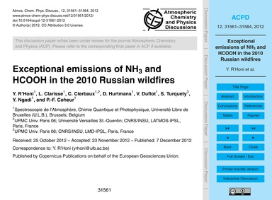 Exceptional Emissions of NH3 and Hcooh i... by R'Honi, Y.
